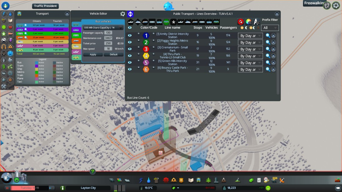 Transit control screen where you can oversee and fine tune your mass transit system